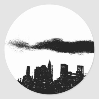 Pop Art Black White NYC New York City Classic Round Sticker