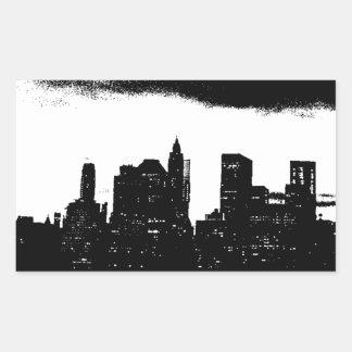 Pop Art Black White NYC New York City Rectangular Sticker