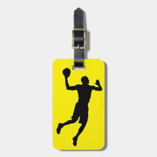 Pop Art Black Yellow Basketball Player Silhouette Bag Tag