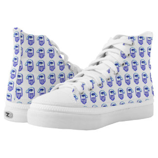 Pop Art Blue Grunge Hamsa Multi High Top Printed Shoes