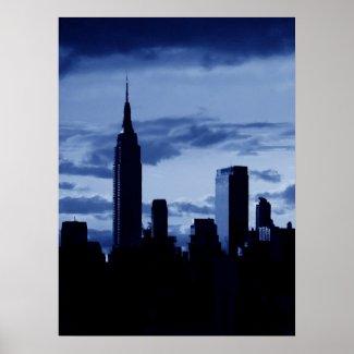 Pop Art Blue New York City Night Poster