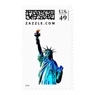 Pop Art Blue Statue of Liberty Stamps