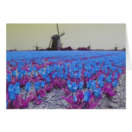 Pop Art Blue Tulips Greeting Card
