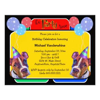 Pop Art Boxers Birthday Barker Personalized Invite