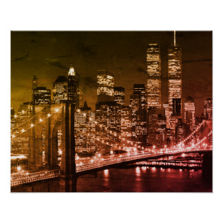 Pop Art Brooklyn Bridge New York Night Poster