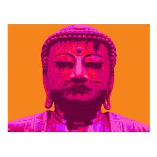 Pop Art Buddha Pink and Orange Postcard
