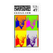 Pop Art Buffalo Bison Head Stamp