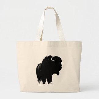 Pop Art Buffalo Bison Silhouette Large Tote Bag