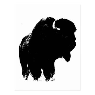 Pop Art Buffalo Bison Silhouette Postcard