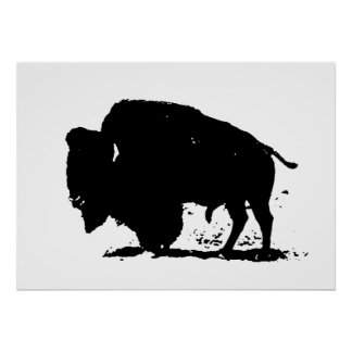 Pop Art Buffalo Bison Silhouette Poster