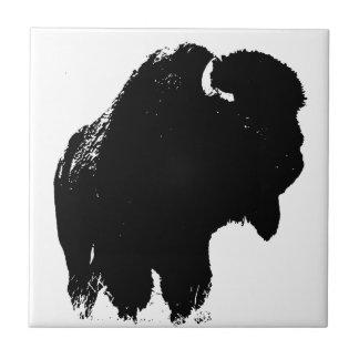 Pop Art Buffalo Bison Silhouette Small Square Tile