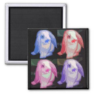 pop art bunnies 2 inch square magnet