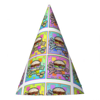 POP ART BURGER PARTY HAT