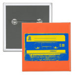 Pop Art Cassette Tape Graphic in Yellow & Blue 2 Inch Square Button