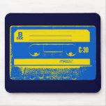 Pop Art Cassette Tape Graphic in Yellow & Blue Mouse Pad