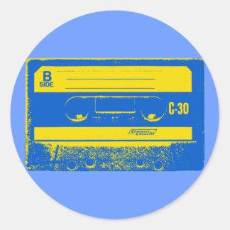 Pop Art Cassette Tape Graphic in Yellow Blue Round Sticker