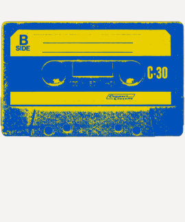 Pop Art Cassette Tape Graphic in Yellow & Blue T-shirt