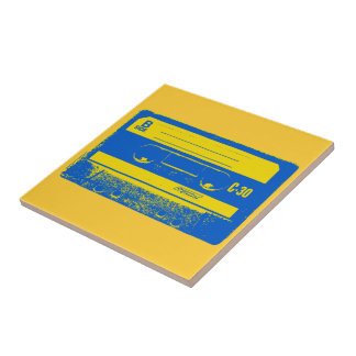 Pop Art Cassette Tape Graphic in Yellow & Blue Tile