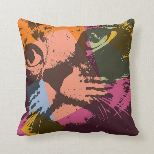 Pop Art Cat Face Throw Pillow