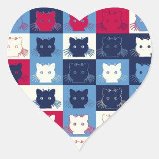 Pop Art Cat Heart Sticker