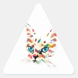 POP ART CAT TRIANGLE STICKER