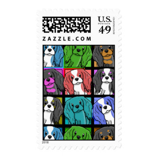 Pop Art Cavalier King Charles Spaniel Stamps