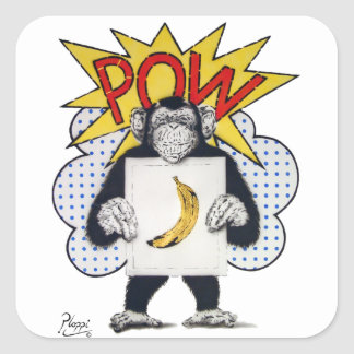 Pop Art, Chimp, Happy Monkey Square Sticker
