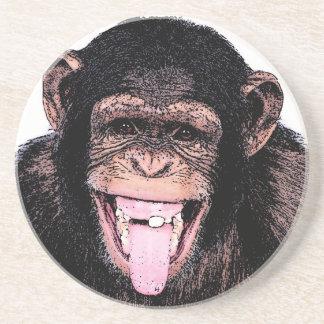 Pop Art Chimpanzee Sticking Tongue Out Drink Coaster