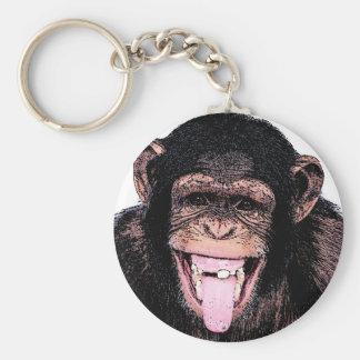 Pop Art Chimpanzee Sticking Tongue Out Keychain
