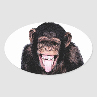 Pop Art Chimpanzee Sticking Tongue Out Oval Sticker