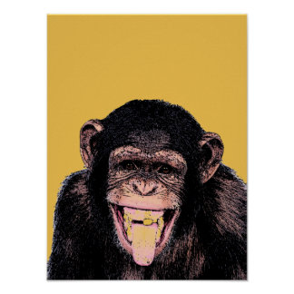 Pop Art Chimpanzee Sticking Tongue Out Poster