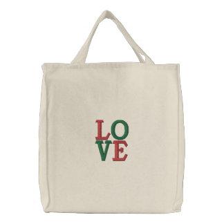 Pop Art Christmas LOVE Embroidered Tote Bag