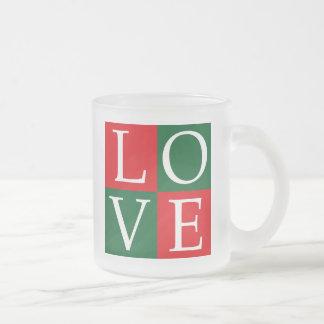 Pop Art Christmas LOVE 10 Oz Frosted Glass Coffee Mug