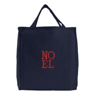 Pop Art Christmas NOEL Embroidered Tote Bag