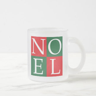 Pop Art Christmas NOEL 10 Oz Frosted Glass Coffee Mug