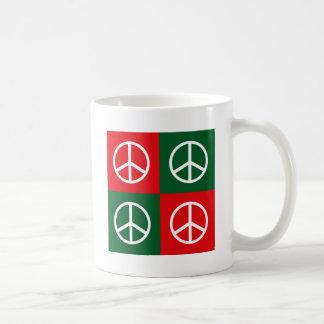 Pop Art Christmas PEACE Classic White Coffee Mug