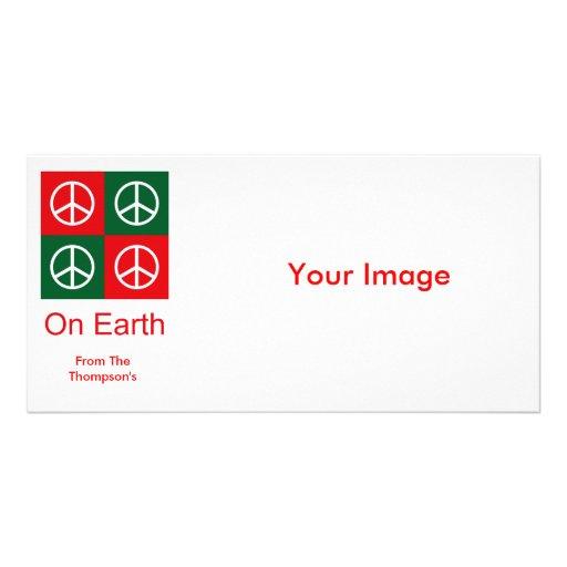Pop Art Christmas PEACE Photo Card Template
