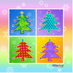 Pop Art Christmas Tree Ornament Acrylic Cut Outs