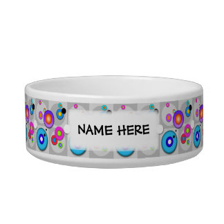 Pop Art CIRCLES Personalizable SNACK or PET BOWL