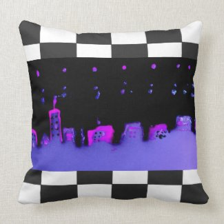 Pop Art City Night Checkerboard Fun CricketDiane Throw Pillow