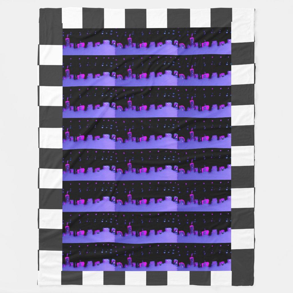 Pop Art City Night Checkerboard Urban CricketDiane Fleece Blanket