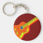 Pop Art Classical Guitar Basic Round Button Keychain