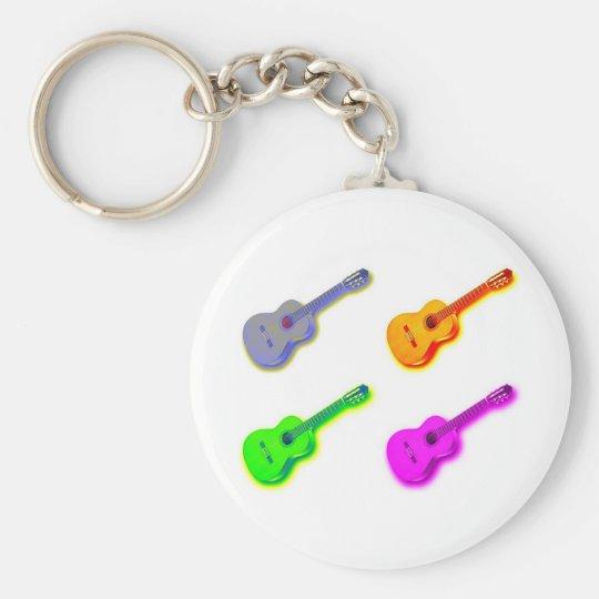 Pop Art Classical Spanish Guitar Keychain