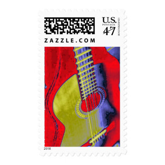Pop Art Classical Spanish Guitar Stamp