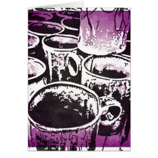 Pop Art Coffee Mugs Watercolor Print in Purple Card