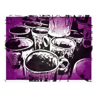Pop Art Coffee Mugs Watercolor Print in Purple Postcard