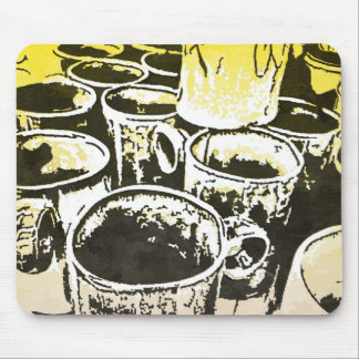 Pop Art Coffee Mugs Watercolor Print in Yellow Mouse Pad