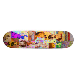 pop art collage skate deck