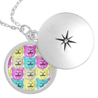 pop art color cat silver plated necklace