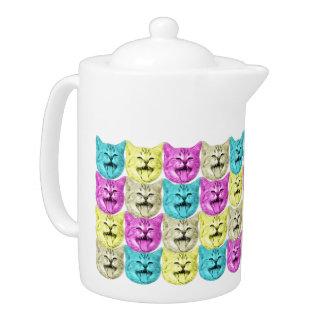 pop art color cat teapot